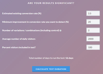 AB test duration calculator