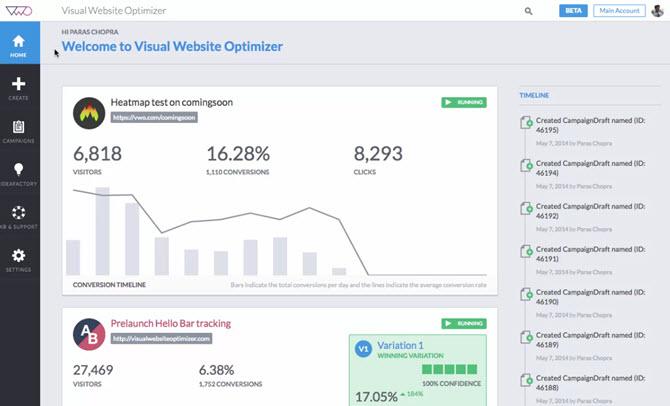 ab testing tool VWO screenshot