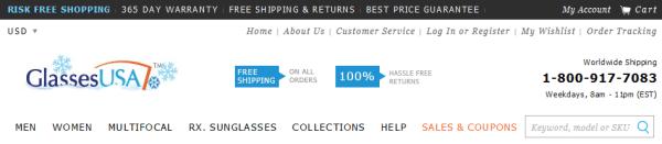 ecommerce UVP header