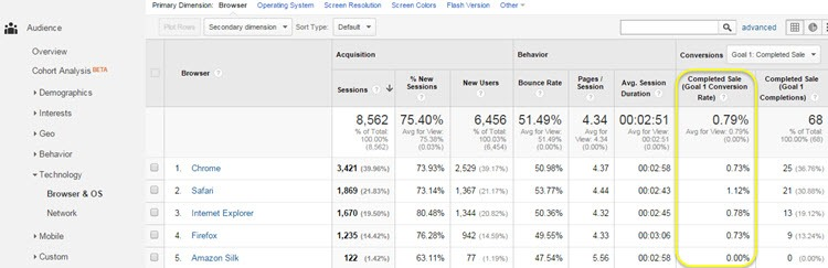 Google Analytics browser report