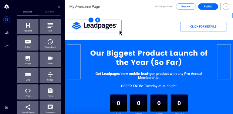 Image result for leadpages screenshot